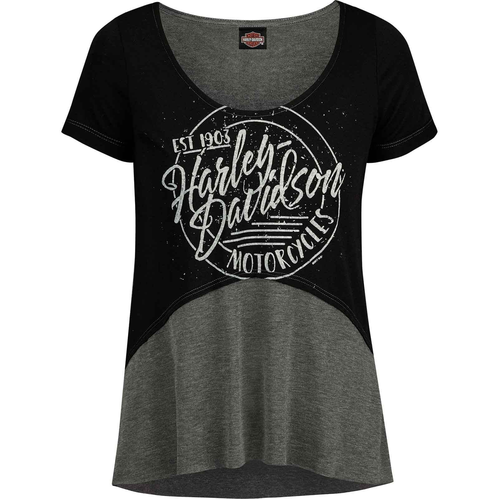 Harley-Davidson Women's Fashion Scoop Neck Hi-Low T-Shirt - Overseas Tour | Circle Script