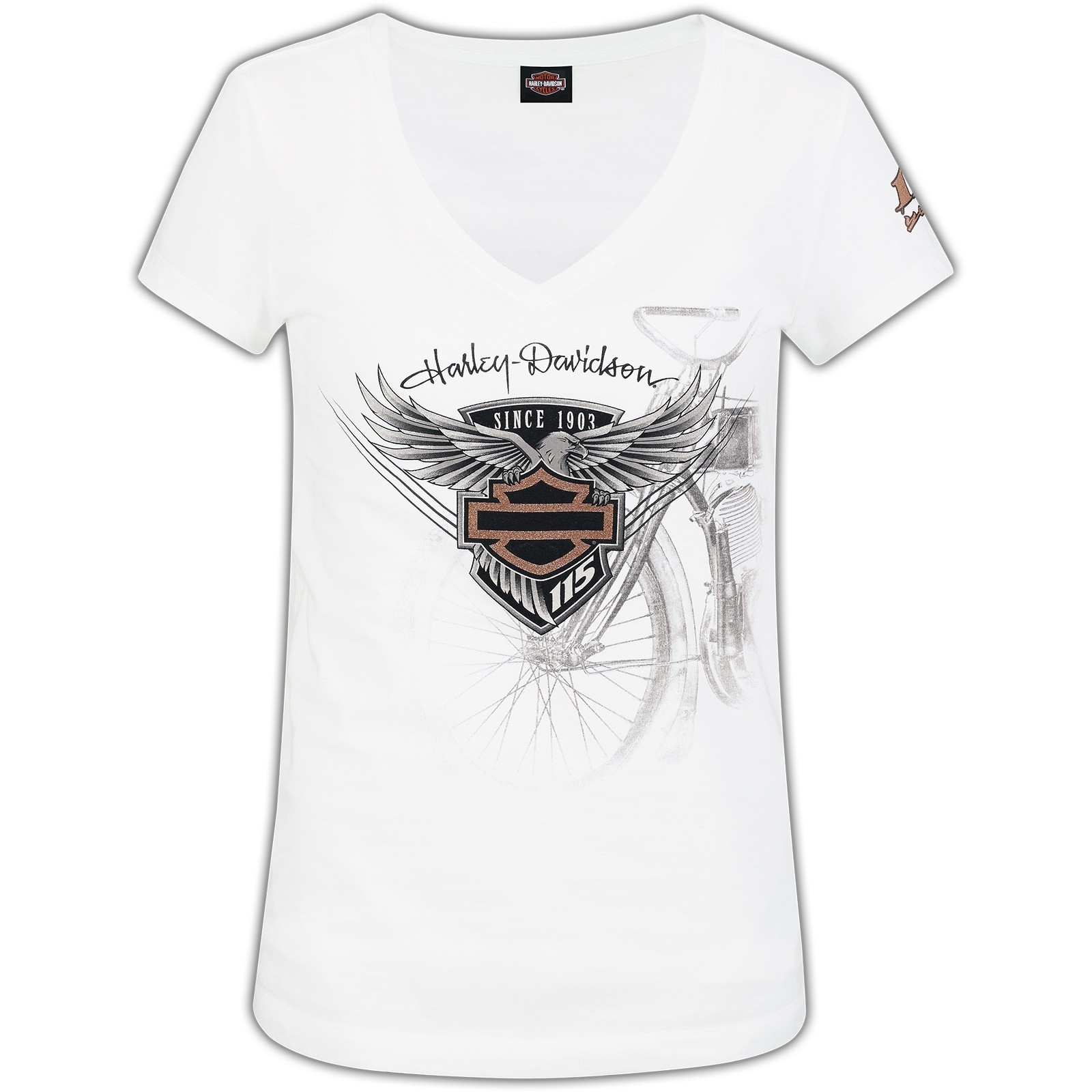 Harley-Davidson 115th Anniversary Women's V-Neck Tee - Eagle Badge | Camp Leatherneck