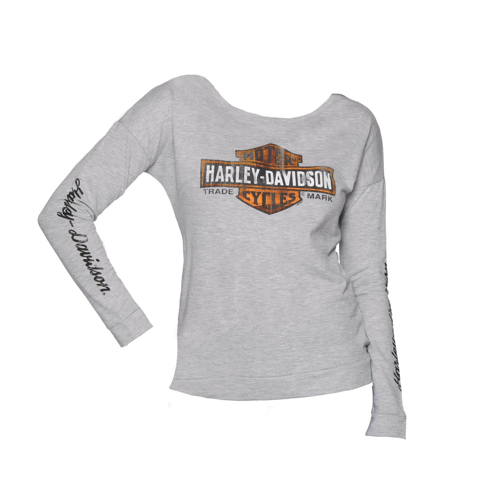 Harley-Davidson Military Women's French Terry Long-Sleeve - NAS Sigonella | Elongated Wash