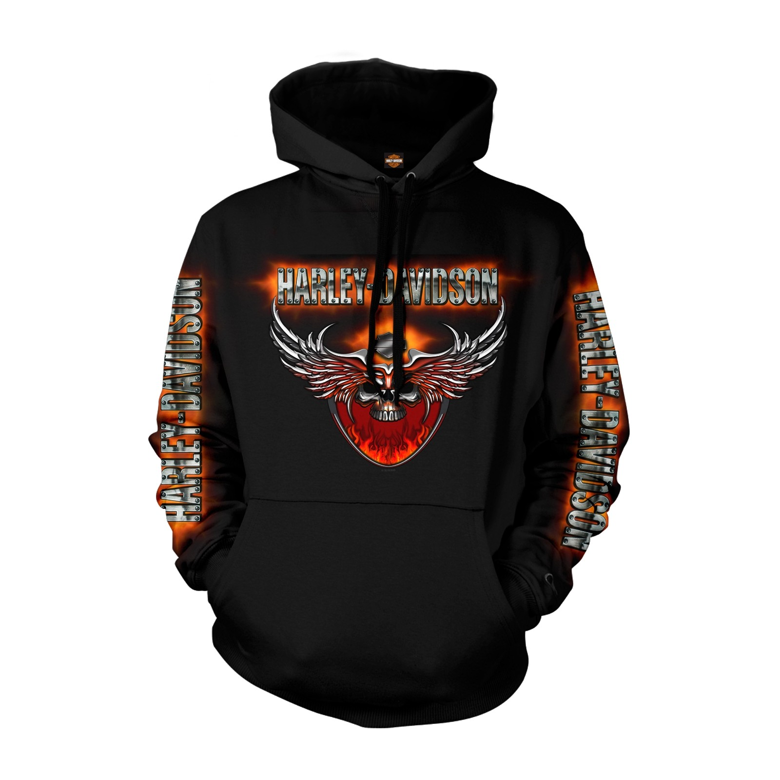 Harley-Davidson Polyblend Pullover Hoodie - Overseas Tour | Flaming Chrome