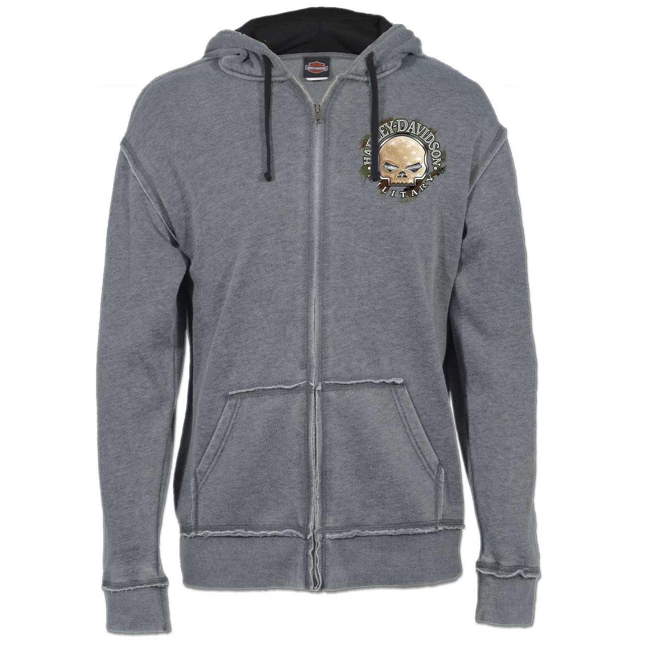 Harley-Davidson Men's Burnout Wash Zippered Hooded Sweatshirt with Raw Edge - Overseas Tour | G Star