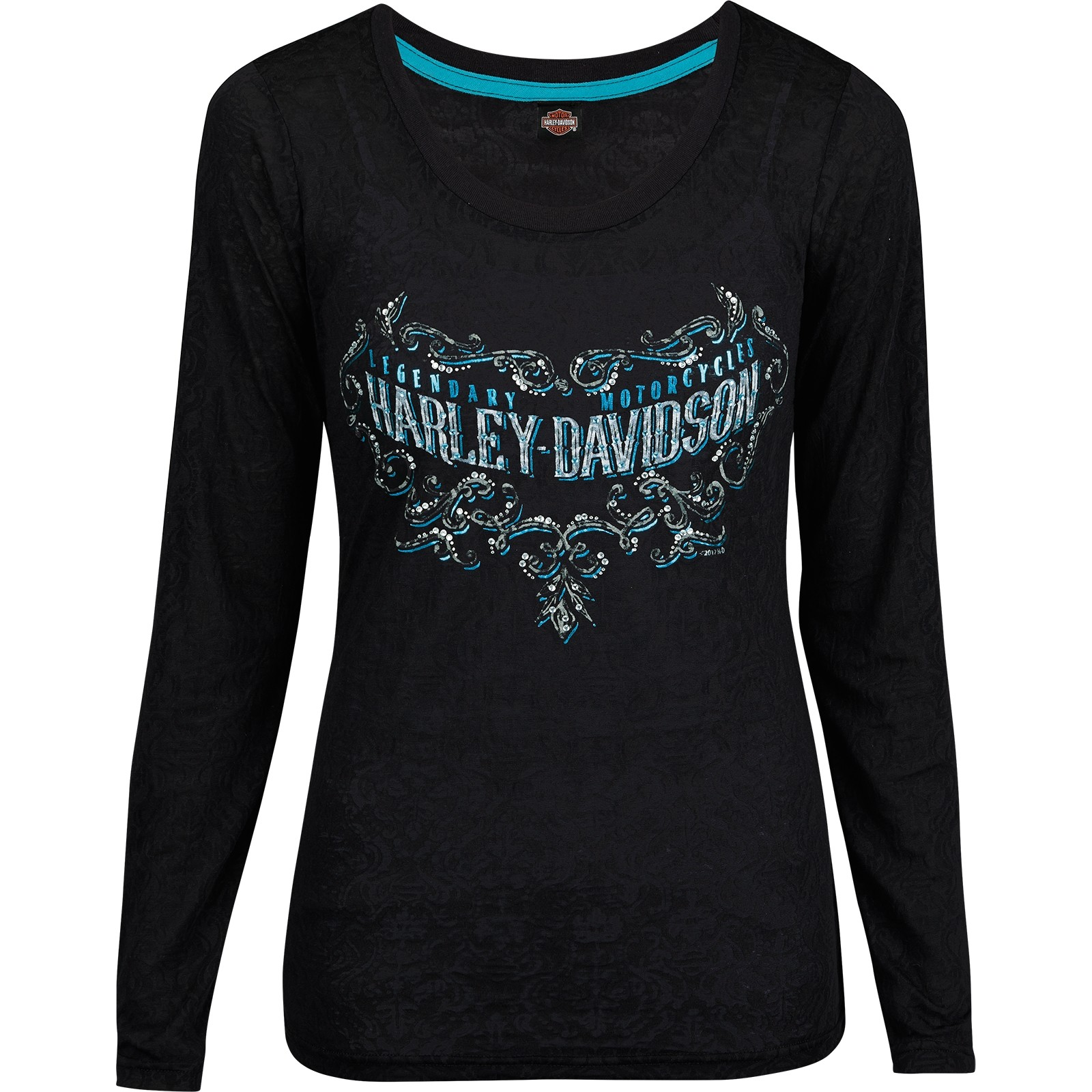 Harley-Davidson Military - Women's Black Long-Sleeve Burnout Graphic T-Shirt - USAG Yongsan | Legend Scroll