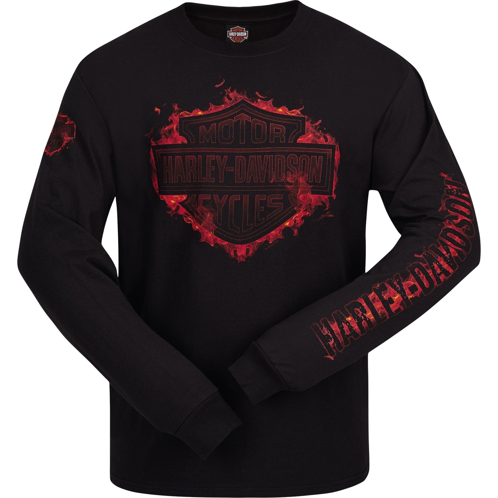 Harley-Davidson Men's Long-Sleeve T-Shirt | Kadena Air Base | Logo Fire