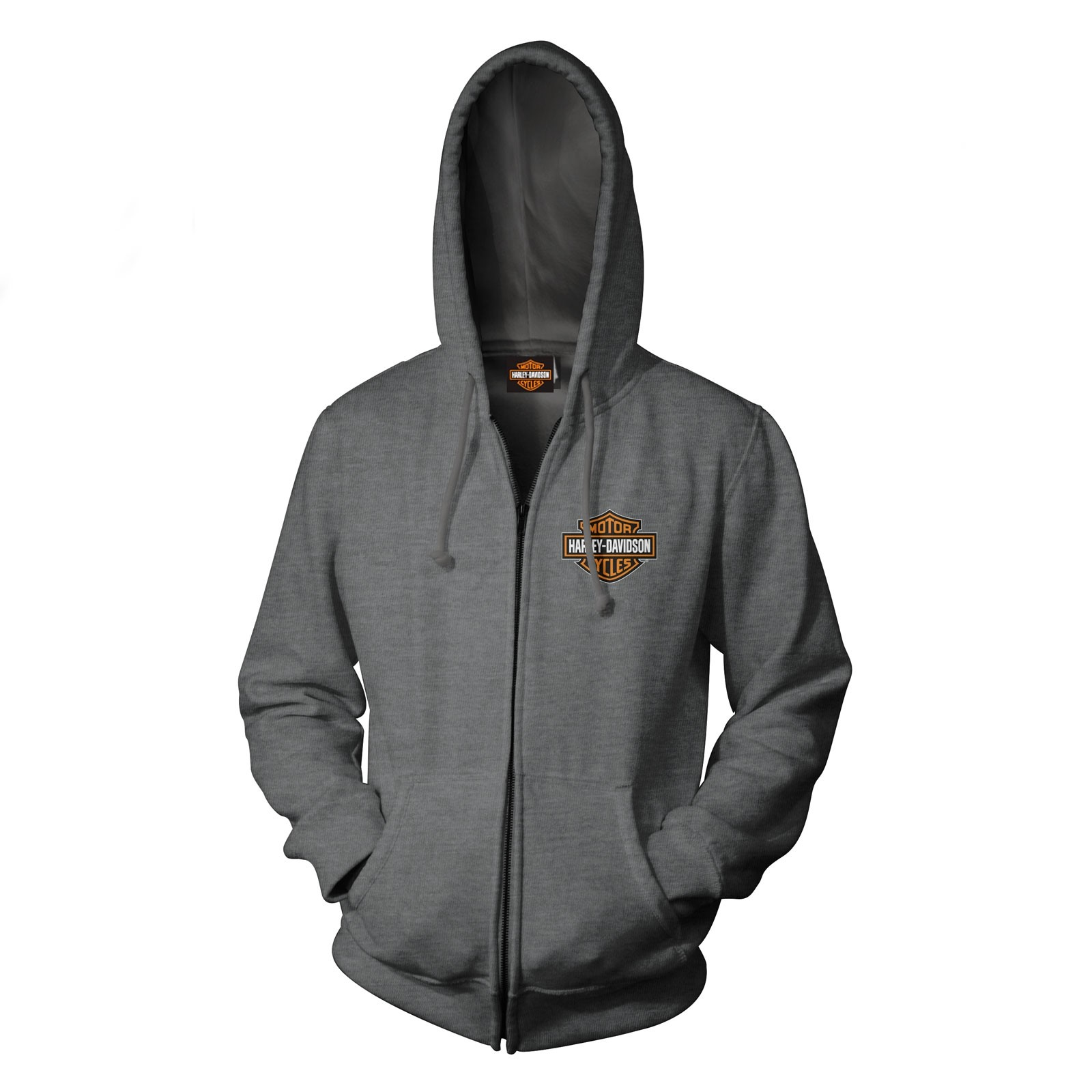 Harley-Davidson Military - Men's Bar & Shield Graphic Zip Hoodie Sweatshirt - Overseas Tour | Military Skull Text