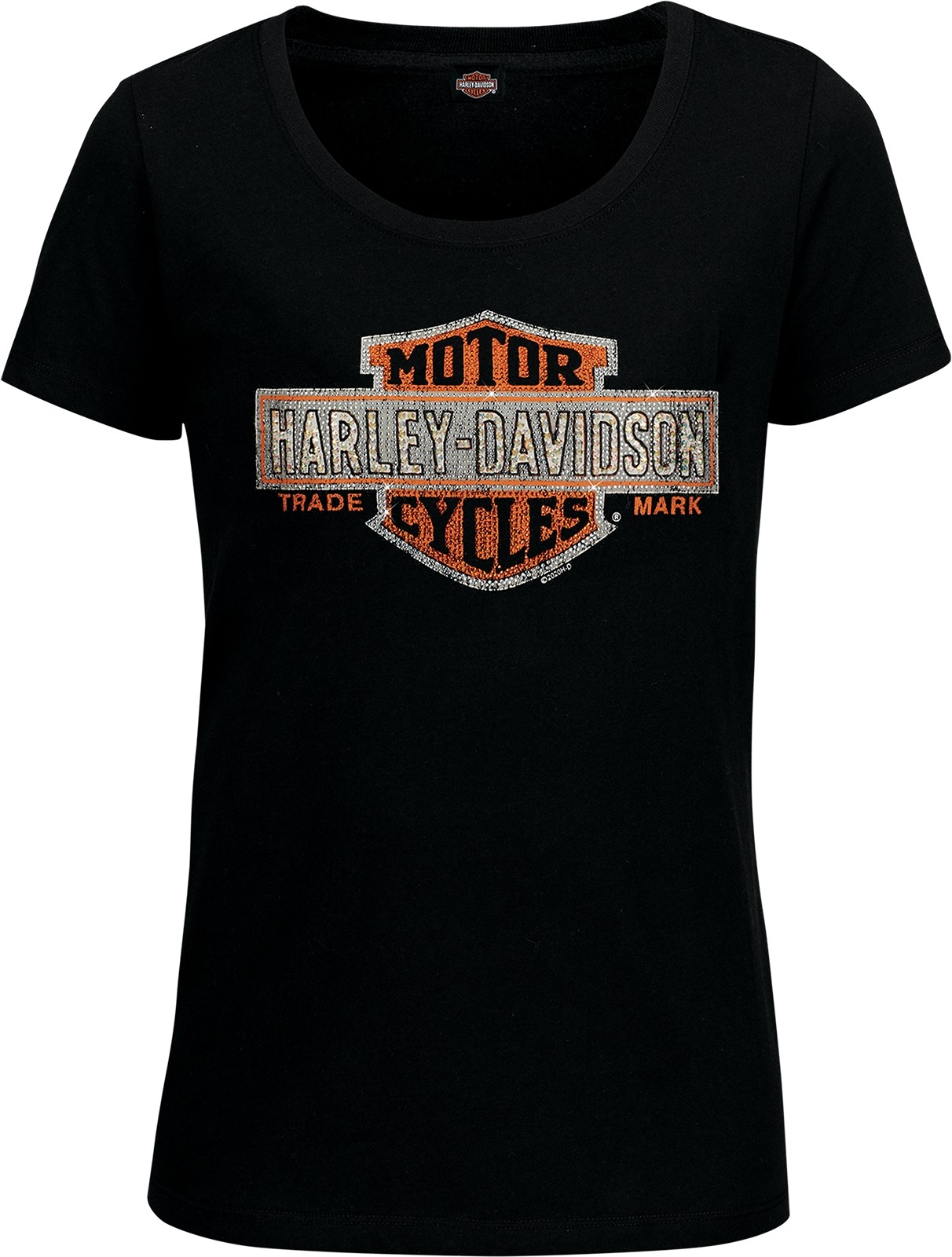 Women's Black Scoop Neck Bar and Shield T-Shirt with Rhinestones - Aviano Air Base   Multiply