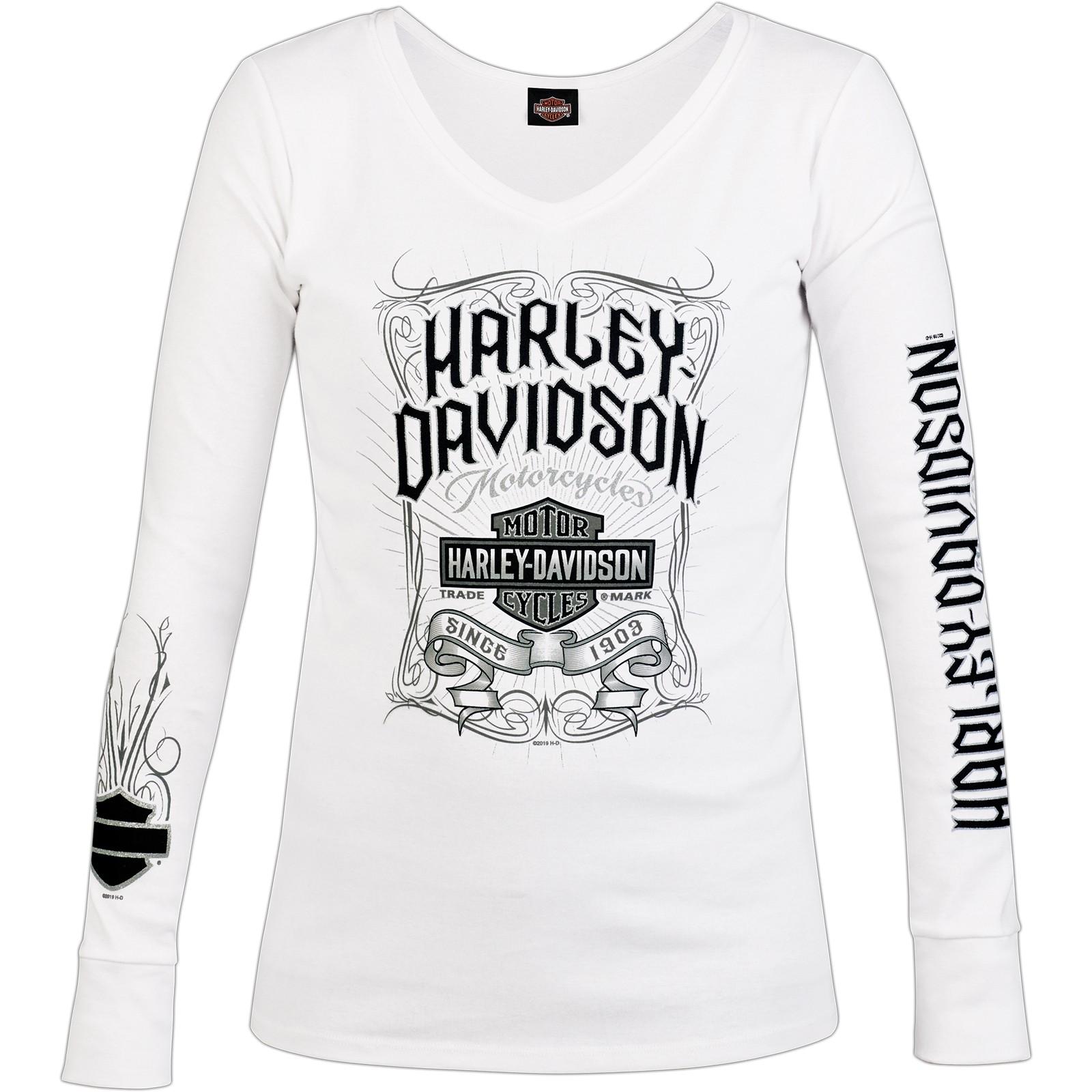 Harley-Davidson Military - Women's White Long-Sleeve V-Neck Graphic T-Shirt - NAS Sigonella   Pennant