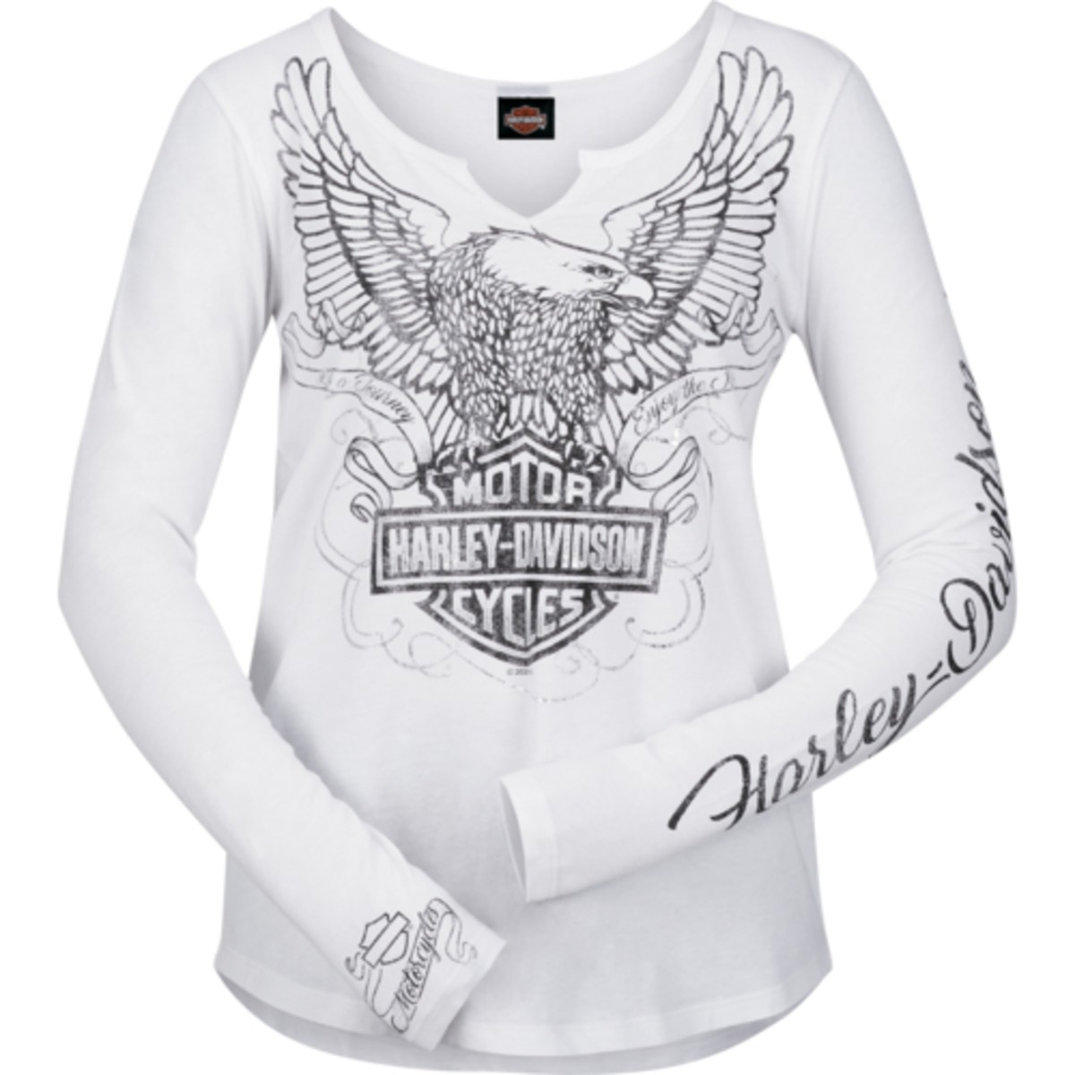 Women's White Long-Sleeve V-Neck Graphic T-Shirt - NAS Sigonella | Regal Edge