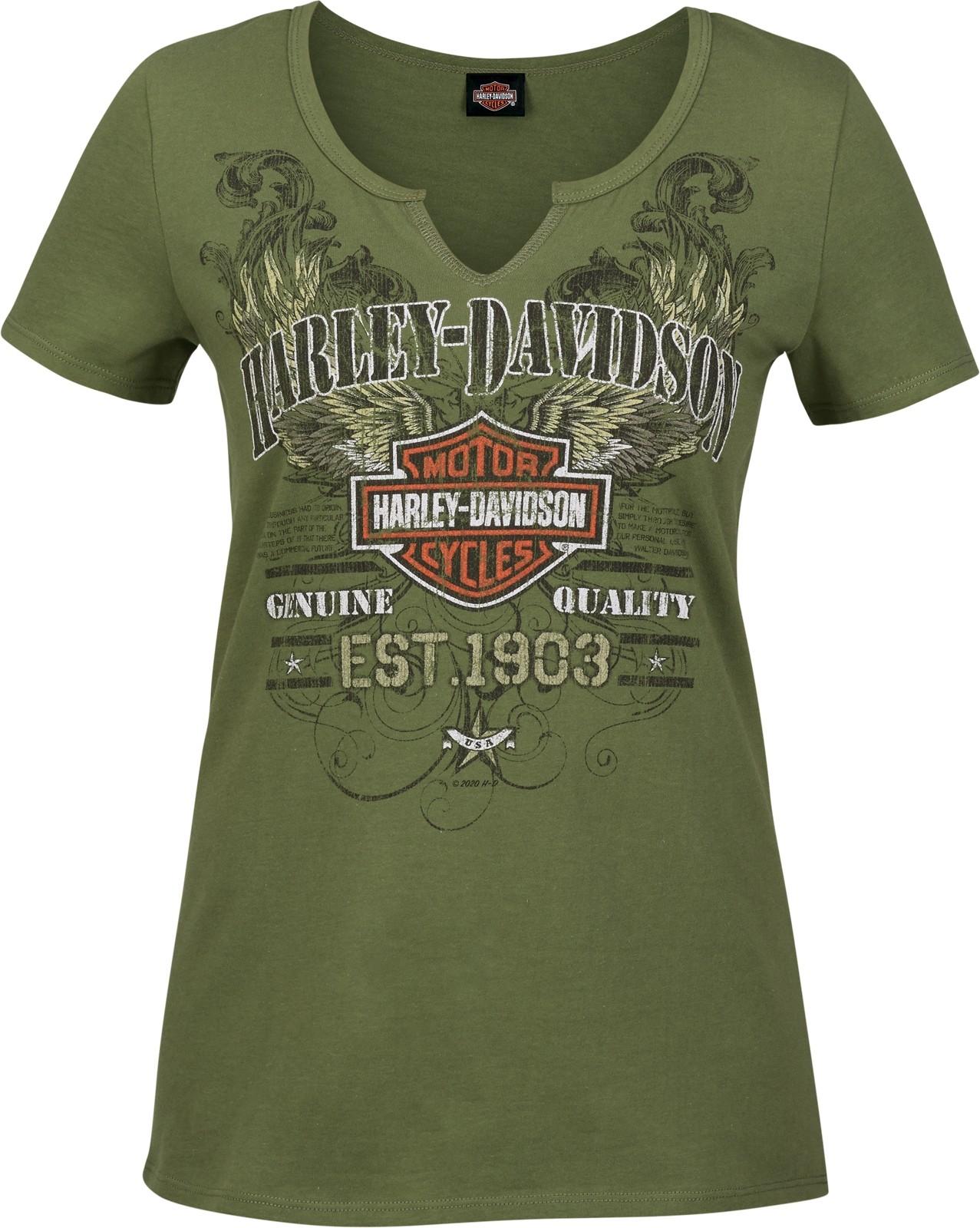 Harley-Davidson Military - Women's Olive Green V-Neck Notched Graphic T-Shirt - RAF Mildenhall | Scrappy