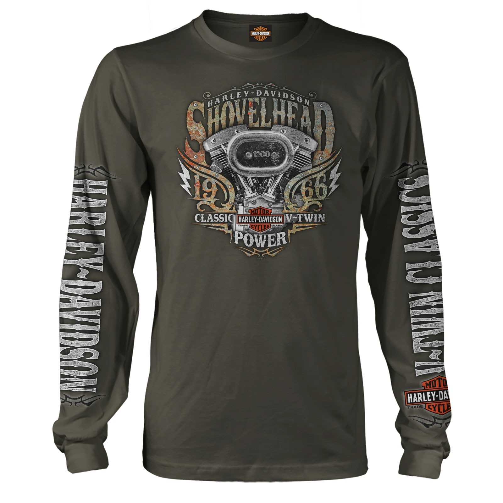 07658f4f0 Harley-Davidson Military Men's Long-Sleeve Graphic Tee - Aviano AB |  Shovelhead