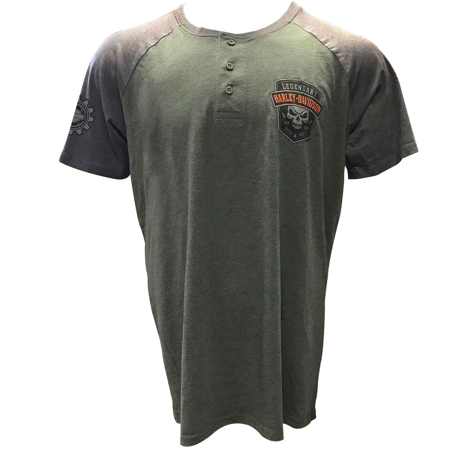 Harley-Davidson Premium Men's Short-Sleeve Henley Shirt - Camp Foster | Speed Heavy