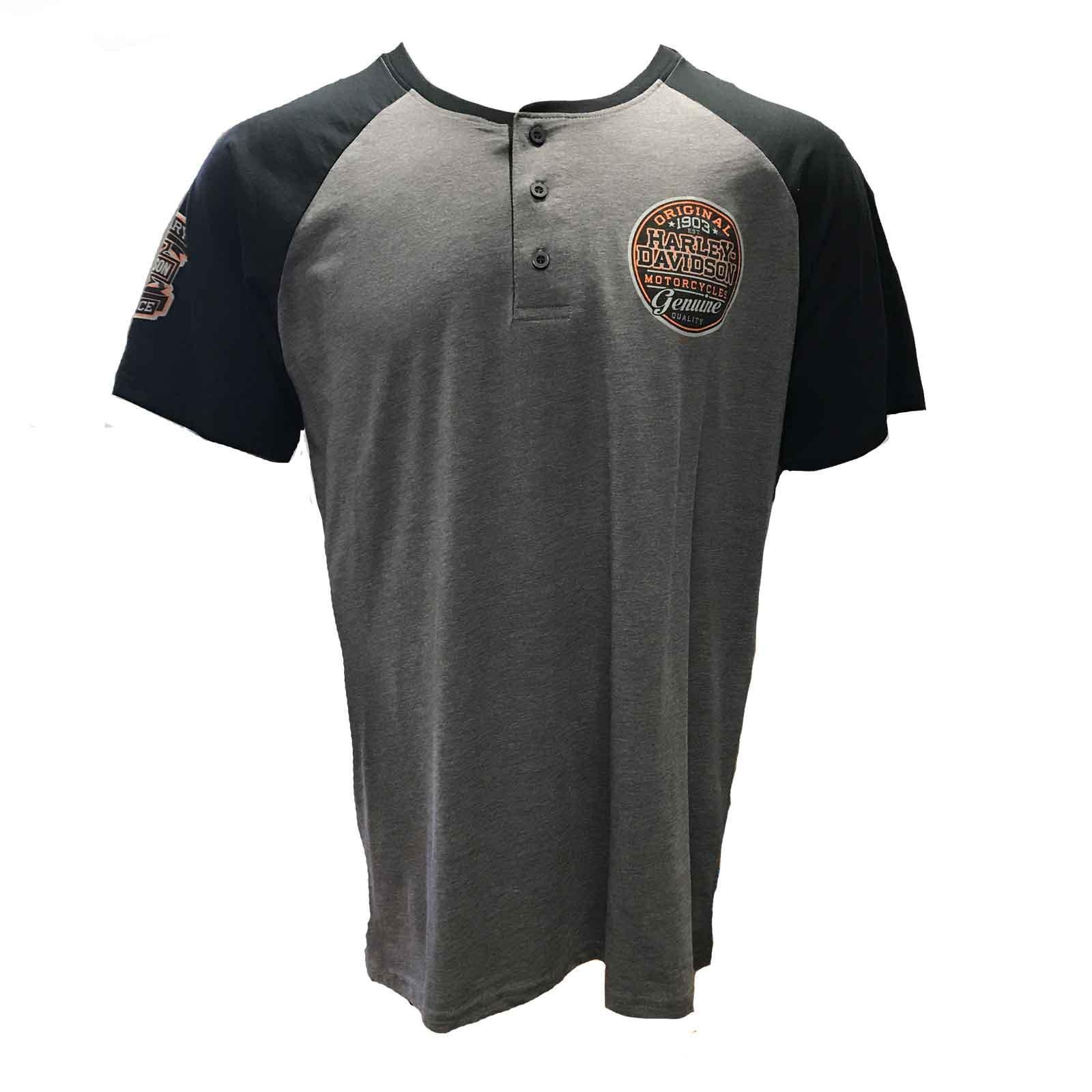 Harley-Davidson Men's Premium Short-Sleeve Henley Shirt - Stronghold | NSA Bahrain