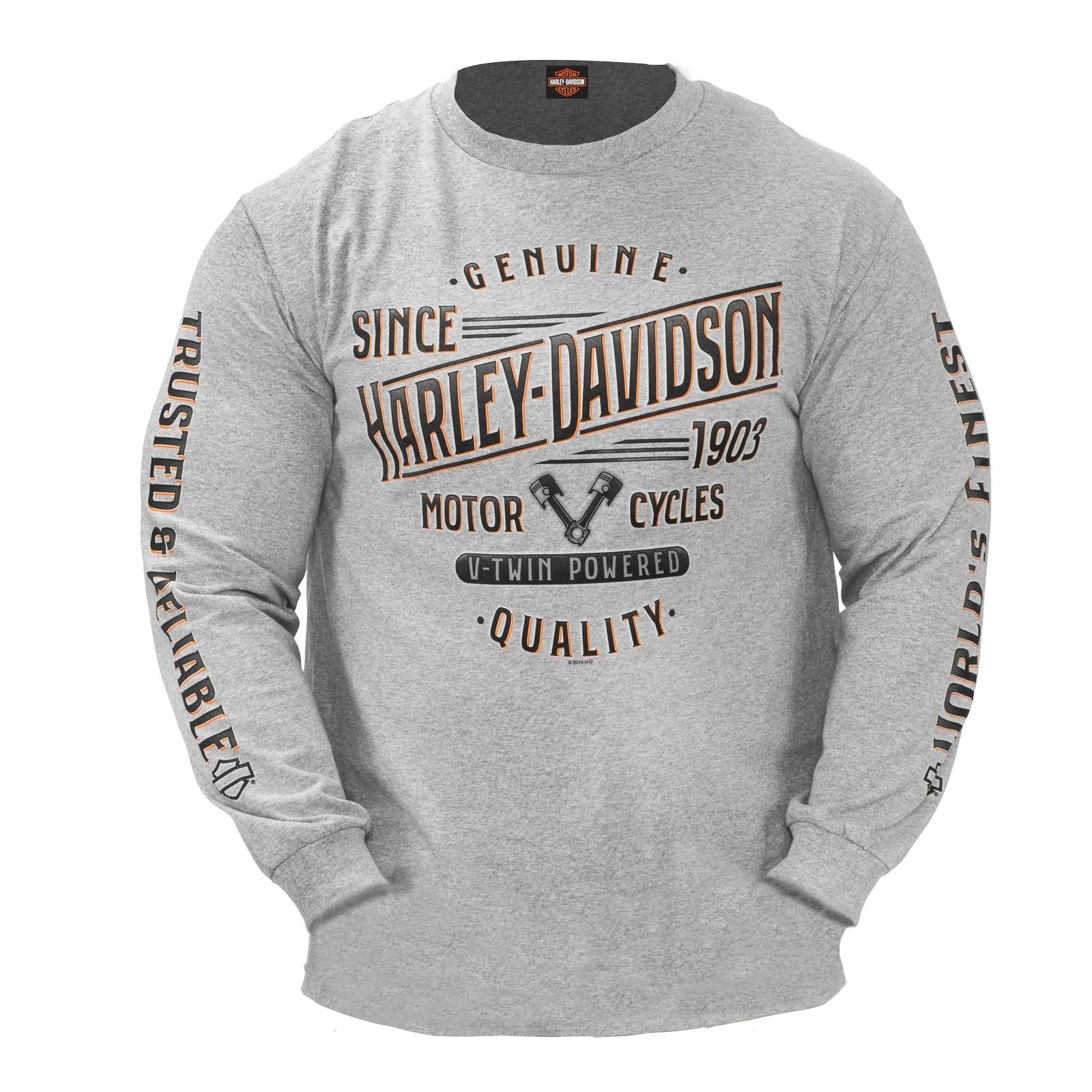 Harley-Davidson Military - Men's Athletic Heather Long-Sleeve Graphic T-Shirt - NSA Naples | Summit