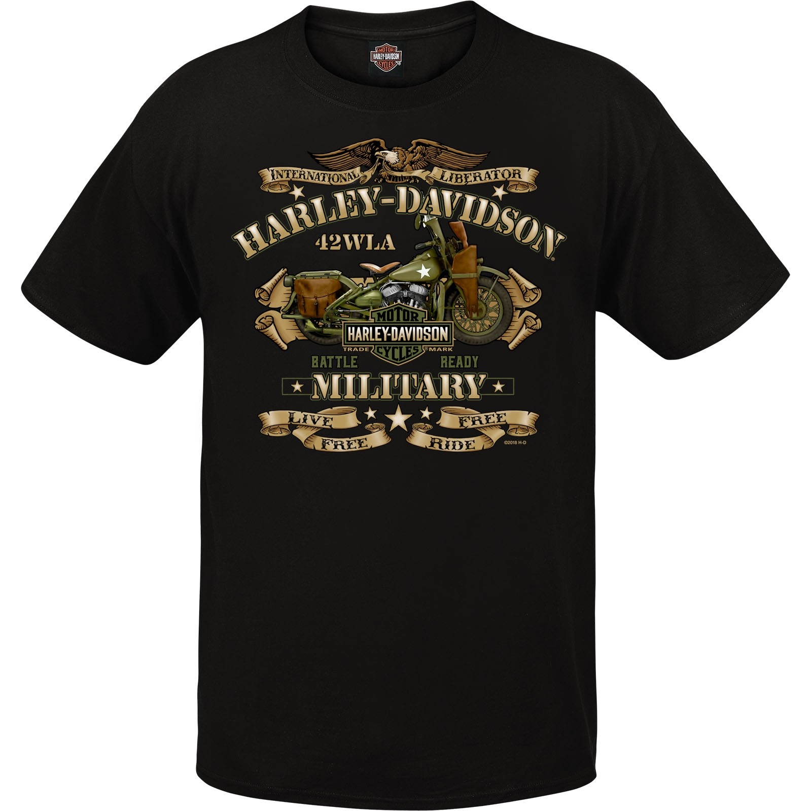 harley davidson military men 39 s graphic t shirt overseas. Black Bedroom Furniture Sets. Home Design Ideas