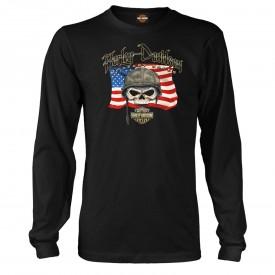 Men's Black Long-Sleeve T-shirt | Overseas Tour - Willie G Flag