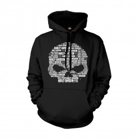 Men's Black Graphic Pullover Hoodie Sweatshirt - Overseas Tour | Text Skull