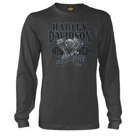 Men's Charcoal Long-Sleeve Graphic T-Shirt - Overseas Tour | Big V-Twin