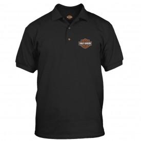 Harley-Davidson Military - Men's Black Graphic 3-Button Polo Sport Shirt - Overseas Tour | Bar & Shield