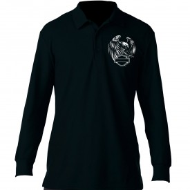 Men's Black Long-Sleeve Collared 3-Button Sport Shirt - Overseas Tour | Eagle Polo