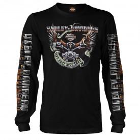 Men's Black Long-Sleeve Eagle Graphic T-Shirt - Kadena Air Base | Eagle Ride