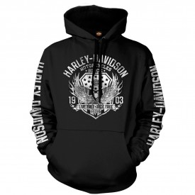 Men's Black Graphic Pullover Hooded Sweatshirt - Military Collage | Epic