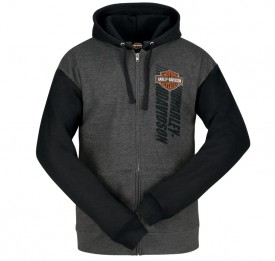 Men's Graphic Black/Charcoal Colorblock Hooded Zippered Sweatshirt - Overseas Tour | Fly Shield