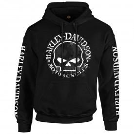 Men's Black Skull Graphic Hooded Pullover Sweatshirt - Handmade Willie | Overseas Tour