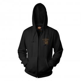 Men's Black Skull Graphic Zippered Hoodie Sweatshirt - Overseas Tour | Smoking Eyes