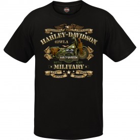 Men's Black Vintage Motorcycle Graphic T-Shirt - Overseas Tour | War Bike