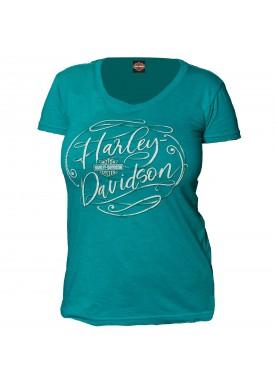 Harley-Davidson Military - Women's Jade Round Neck Graphic T-Shirt - Yokosuka | Flowing Script