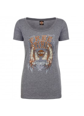 Harley-Davidson Military - Women's Premium Heather Scoop Neck Graphic T-Shirt - Osan Air Base | Flame Wings