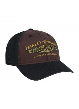 Harley-Davidson Men's Black/Brown/Gold Graphic Ballcap - Overseas Tour   Highest Performance
