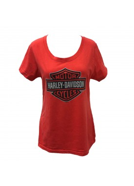 Harley-Davidson Women's Scoop Neck Polyblend Tee - Aviano Air Base | Bar and Shield