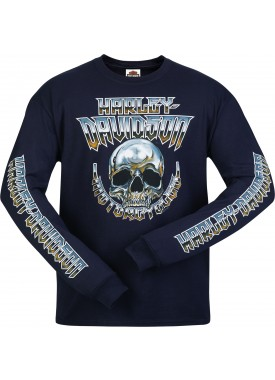 Men's Deep Navy Long Sleeve Skull Graphic T-Shirt - Camp Leatherneck | Chrome Dome