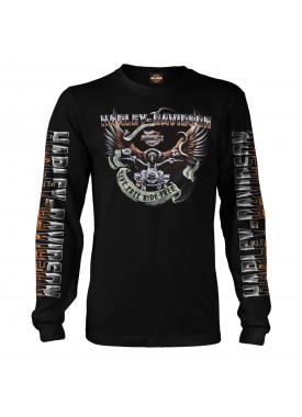 Harley-Davidson Men's Black Long-Sleeve Eagle Graphic T-Shirt - Kadena Air Base | Eagle Ride