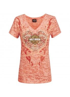 Harley-Davidson Women's Burnout V-Neck Short Sleeve T-Shirt - Al Udeid Air Base | Filigree