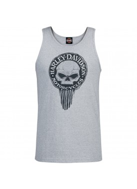 Harley-Davidson Military - Men's Heather Grey Graphic Tank Top - NSA Naples | G Drip