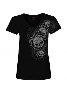 Women's Black Skull Graphic V-Neck T-Shirt - USAG Yongsan | Lacey G