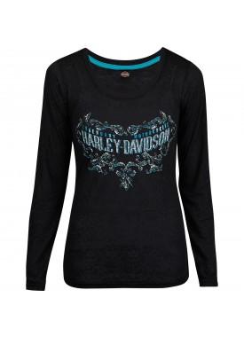 Harley-Davidson Military - Women's Black Long-Sleeve Burnout Graphic T-Shirt - USAG Yongsan   Legend Scroll
