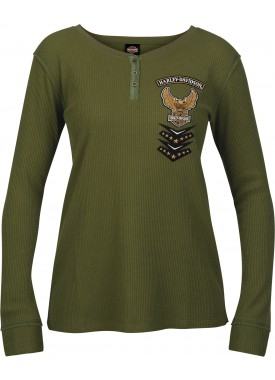 Harley-Davidson Military - Women's Long-Sleeve Eagle Graphic Henley Thermal Shirt - USAG Wiesbaden | Mended Placket