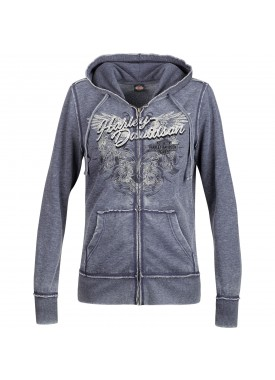 Harley-Davidson Women's Burnout Hooded Zippered Sweatshirt With Studs - Overseas Tour | Midnight Wing