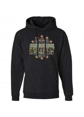 Men's Charcoal Graphic Pullover Hoodie Sweatshirt - Overseas Tour | Military Stars