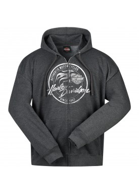 Men's Charcoal Heather Hooded Zippered Sweatshirt - Overseas Tour | Paint Logo