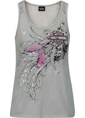 Harley-Davidson Military - Women's Grey Lace Insert Graphic Tank Top - NAS Sigonella | Fly Away