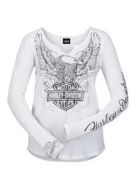 Women's White Long-Sleeve V-Neck Graphic T-Shirt - NAS Sigonella | Regal Edge