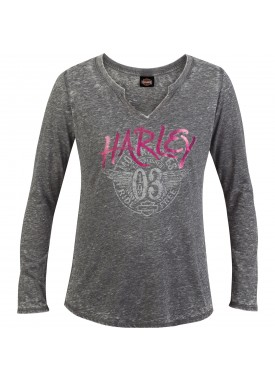 Harley-Davidson Women's Long-Sleeve Burnout Wash V-Notch T-Shirt - Camp Humphreys | Stamped