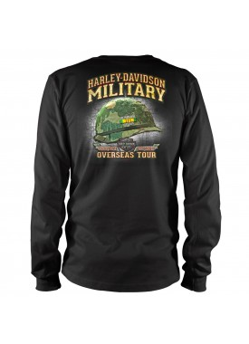 Men's Black Bar & Shield Long-Sleeve Graphic T-Shirt - Honoring Vietnam Veterans