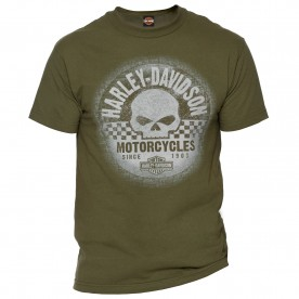 Harley-Davidson Military - Men's Military Green Graphic T-Shirt - NSA Naples | Grunge Racer