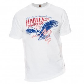 Harley-Davidson Military - Men's White Patriotic Eagle Graphic T-Shirt - Ramstein Air Base | Pledge