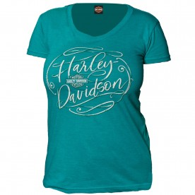 Harley-Davidson Military - Women's Jade Round Neck Graphic T-Shirt - Yokosuka | Flowing Script