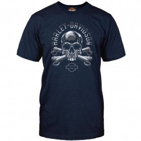 Harley-Davidson Military - Men's Navy Skull Graphic T-Shirt - Camp Arifjan | Adversary